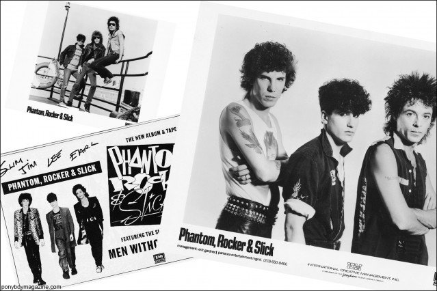 B&W press photos of Phantom, Rocker & Slick, from the collection of Stray Cats Collector. Ponyboy magazine.