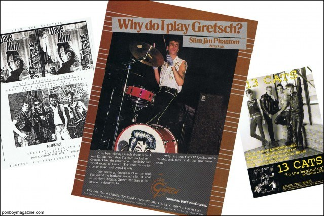 Press clippings of rockabilly drummer Slim Jim Phantom, from the collection of Stray Cats Collector. Ponyboy magazine.