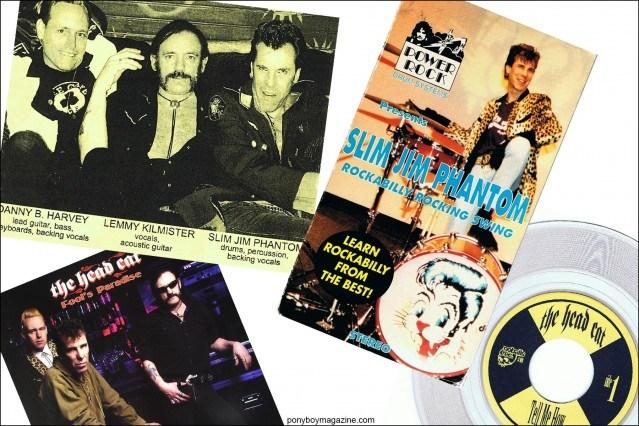 Slim Jim Phantom memorabilia, courtesy of Stray Cats Collector. Ponyboy magazine.