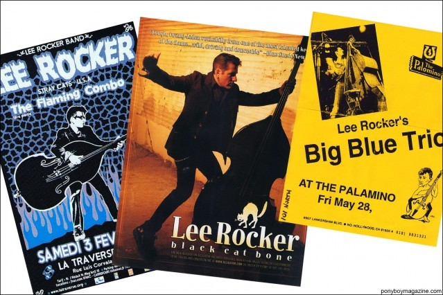 Flyers of rockabilly bassist Lee Rocker, from Stray Cats Collector's. Ponyboy magazine.