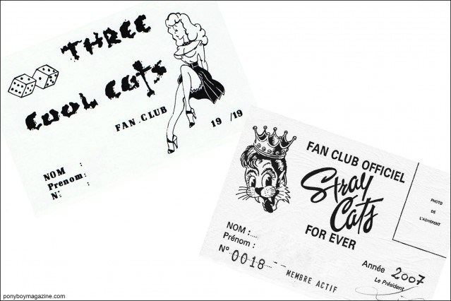 Stray Cats fan club cards, courtesy of Stray Cats Collector's. Ponyboy magazine.