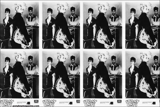 B&W collage of a publicity shot for 80's Stray Cats. From the collection of Stray Cats Collectors. Ponyboy magazine.