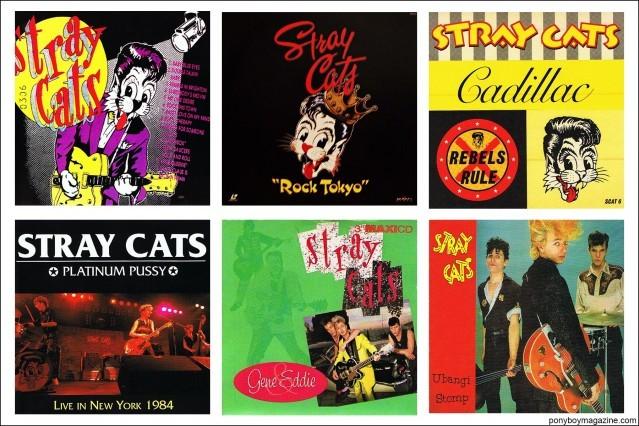 1980's artwork from rockabilly band Stray Cats. Courtesy of Stray Cats Collector's. Ponyboy magazine.
