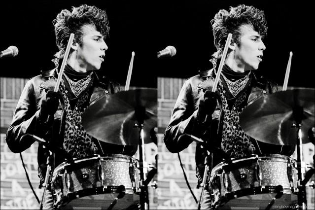 1980's neo-rockabilly drummer Slim Jim Phantom photographed onstage in Germany by Manfred Becker. Ponyboy magazine.