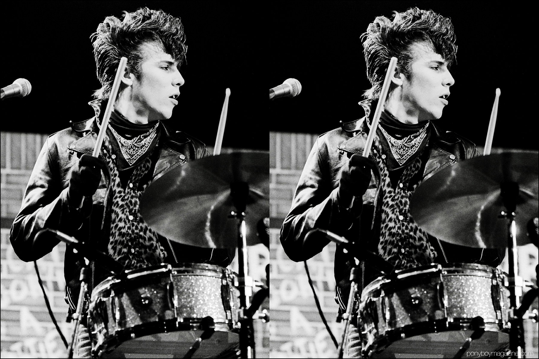 1980's neo-rockabilly drummer Slim Jim Phantom photographed onstage in Germany by Manfred Becker. Ponyboy magazine NY.
