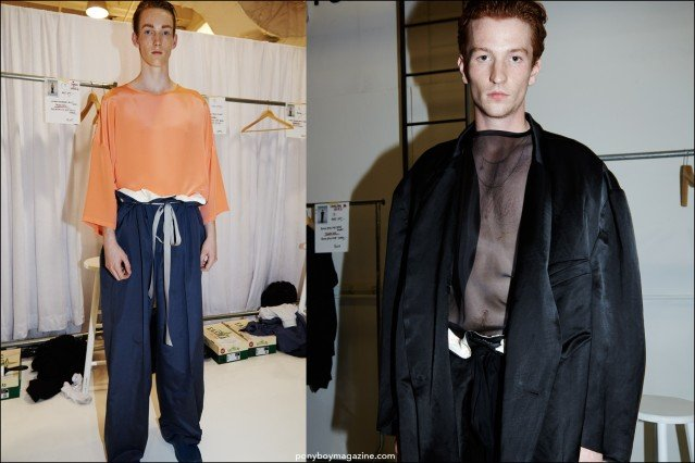 Red-headed models Matt Pitt and Greg France, photographed backstage at the Duckie Brown Spring/Summer 2016 menswear collection. Photographs by Alexander Thompson for Ponyboy magazine.