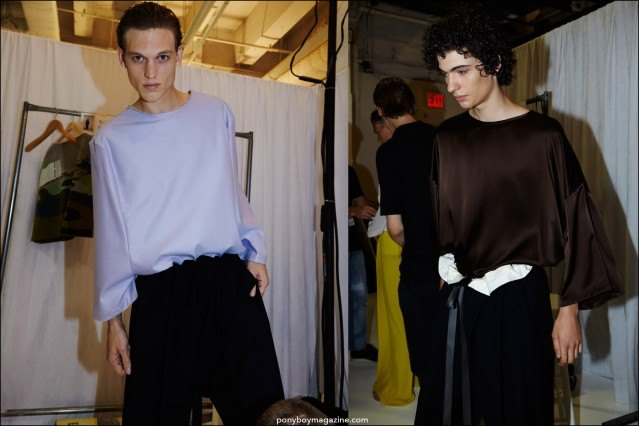 Models of the moment Alex Treutel and Piero Mendez photographed backstage at the Duckie Brown Spring/Summer 2016 menswear show. Photography by Alexander Thompson for Ponyboy magazine.