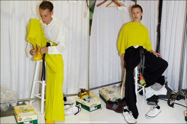 Model Jonas Gloer dressed in Duckie Brown Spring/Summer 2016 menswear. Photographed by Alexander Thompson for Ponyboy magazine.