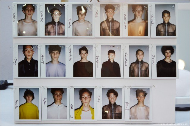 Polaroids of male models, backstage at Duckie Brown Spring/Summer 2016 menswear show. Photograph by Alexander Thompson for Ponyboy magazine.