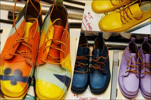 Photographs of colorful men's shoes, backstage at Duckie Brown Spring/Summer 2016 collection. Photography by Alexander Thompson for Ponyboy magazine.