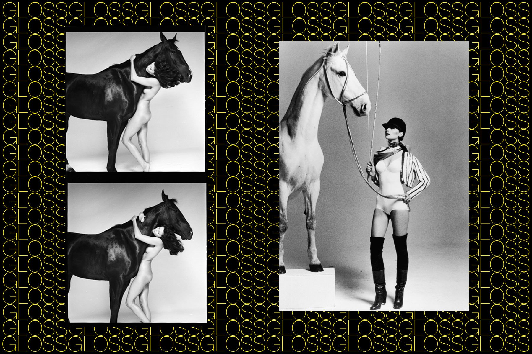 Models pose with horses, from the Rizzoli book GLOSS, on fashion photographer Chris von Wangenheim, by Roger Padilha & Mauricio Padilha. Ponyboy magazine NY.