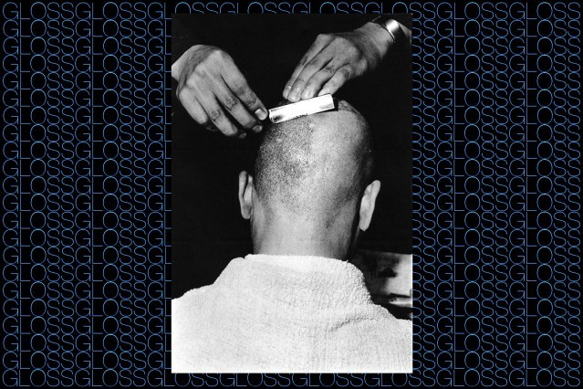 Photograph of a head being shaved, by photographer Chris von Wangenheim, featured in the book GLOSS by Roger Padilha & Mauricio Padilha, Rizzoli 2015. Ponyboy magazine.