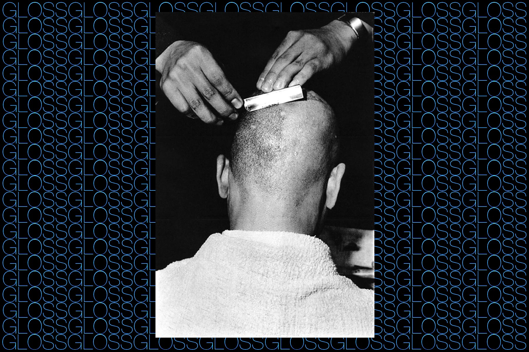 Photograph of a head being shaved, by photographer Chris von Wangenheim, featured in the book GLOSS by Roger Padilha & Mauricio Padilha, Rizzoli 2015. Ponyboy magazine NY.