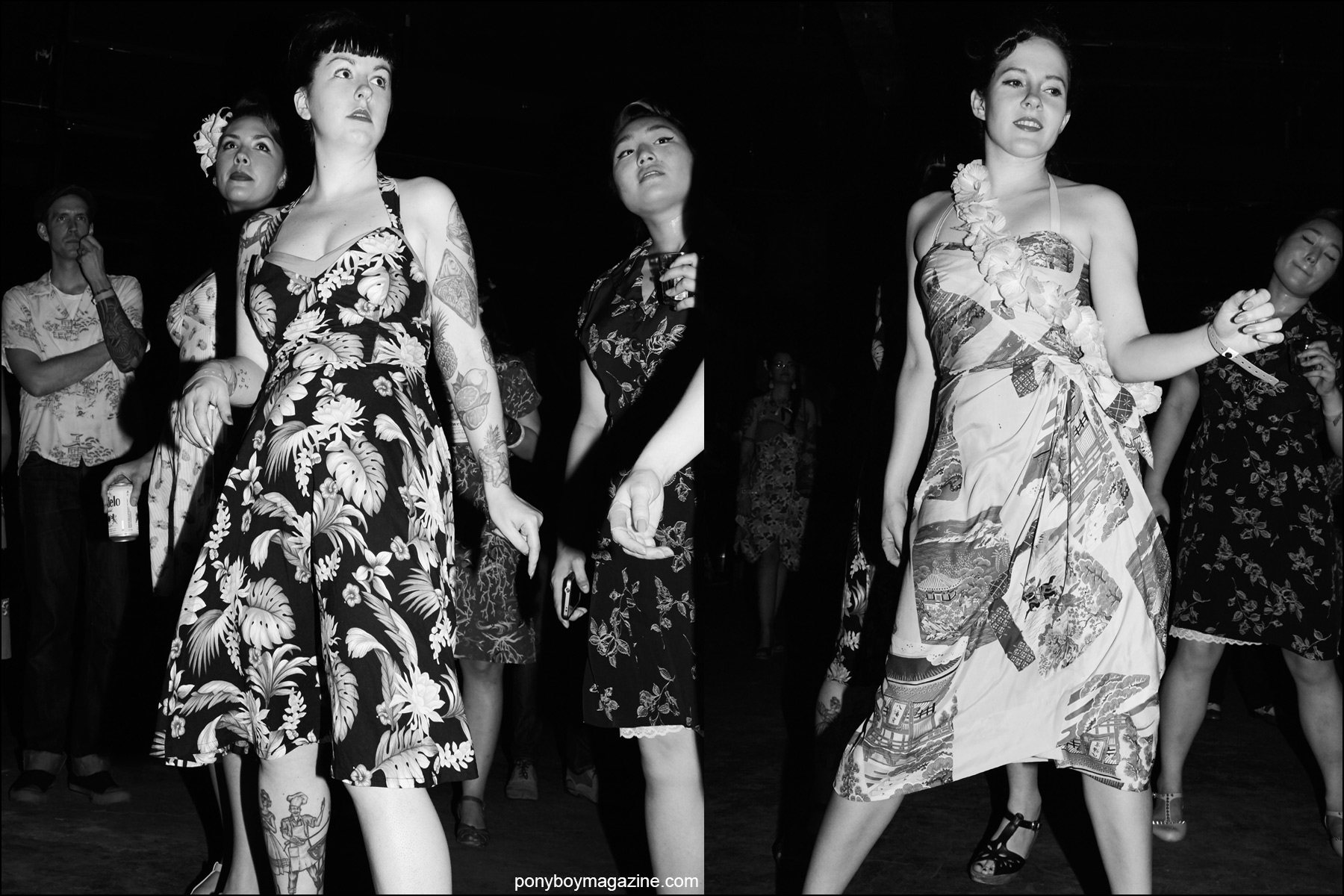Rockabilly ladies in vintage Hawaiian dresses, photographed on the dance floor at Hula Rock Vol 2 weekender in New York City. Photographs for Ponyboy magazine NY by Alexander Thompson.