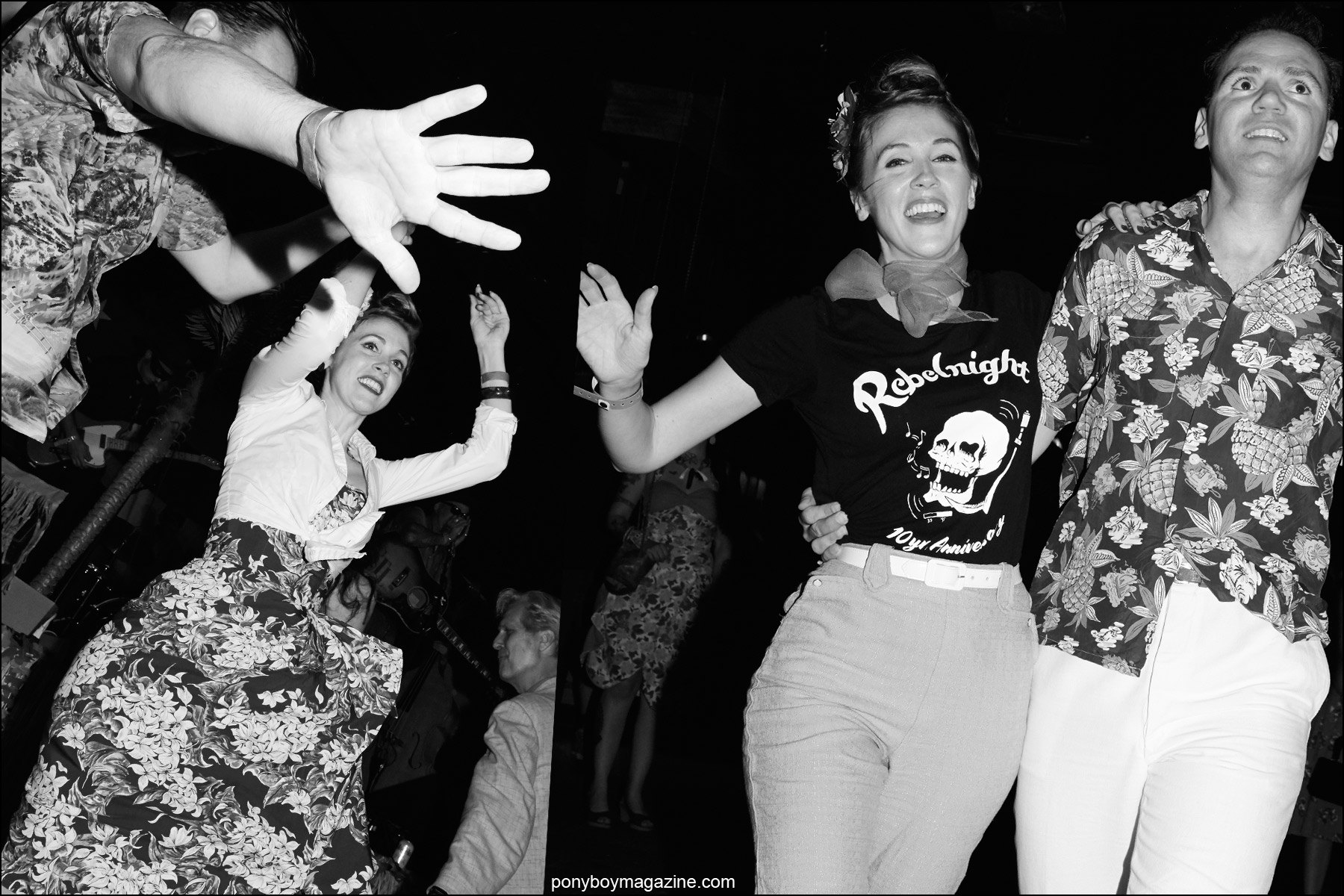 A rockabilly couple on the dance floor in Brooklyn, photographed at Hula Rock Vol 2 weekender. Photos by Alexander Thompson for Ponyboy magazine NY.