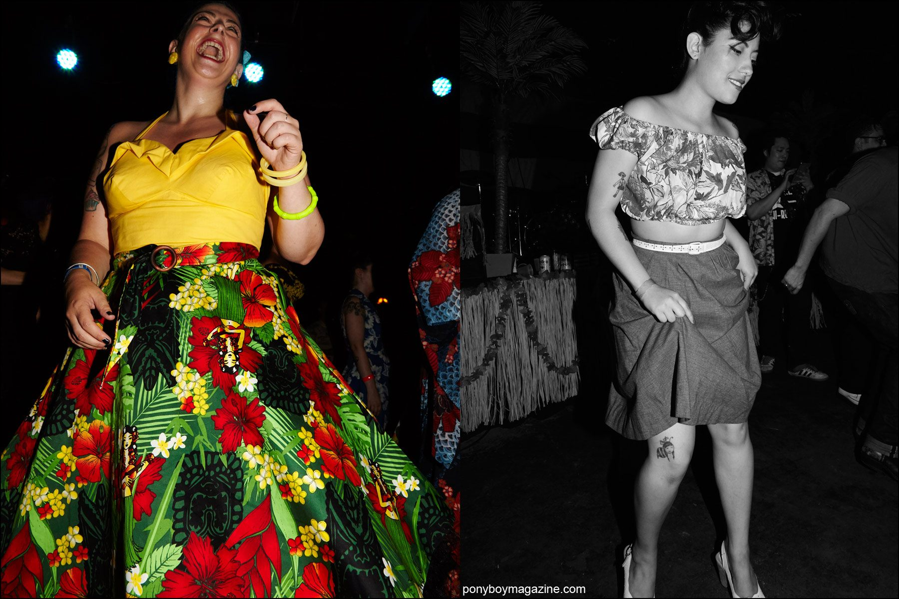 Rockabilly 1950's vintage women's fashions, photographed on the dance floor at Hula Rock Vol 2 weekender. Photos by Alexander Thompson for Ponyboy magazine NY.