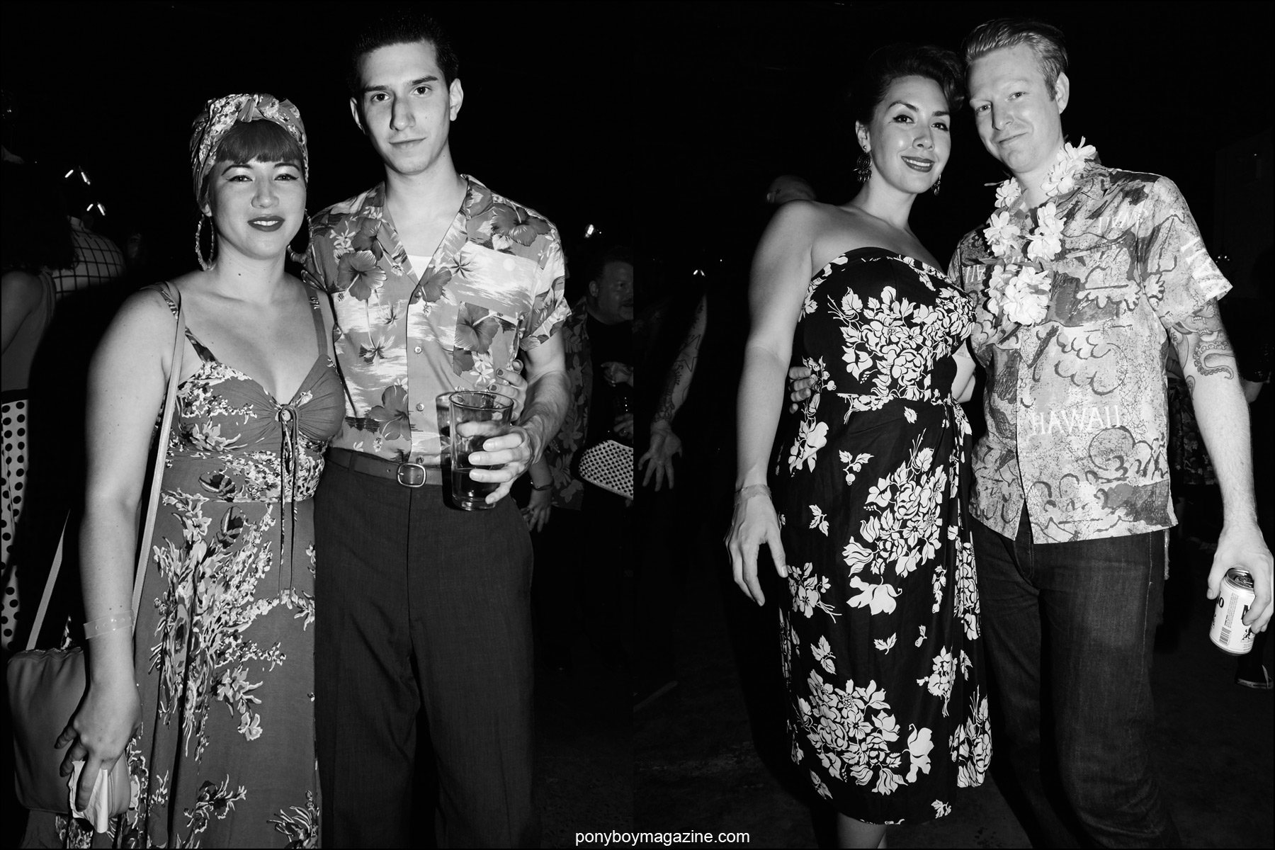 Rockabilly couples photographed in Hawaiian clothing at Hula Rock Vol 2 weekender in New York City. Photographs by Alexander Thompson for Ponyboy magazine NY.