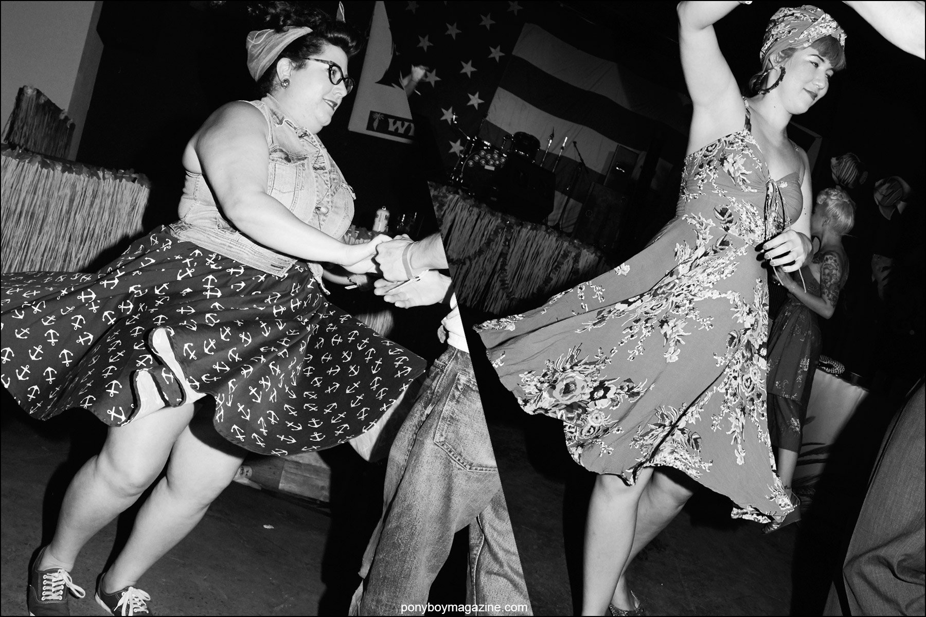 Rockabilly jive dancers in full skirts, photographed at Hula Rock Vol 2 in New York City. Photographs by Alexander Thompson for Ponyboy magazine NY.