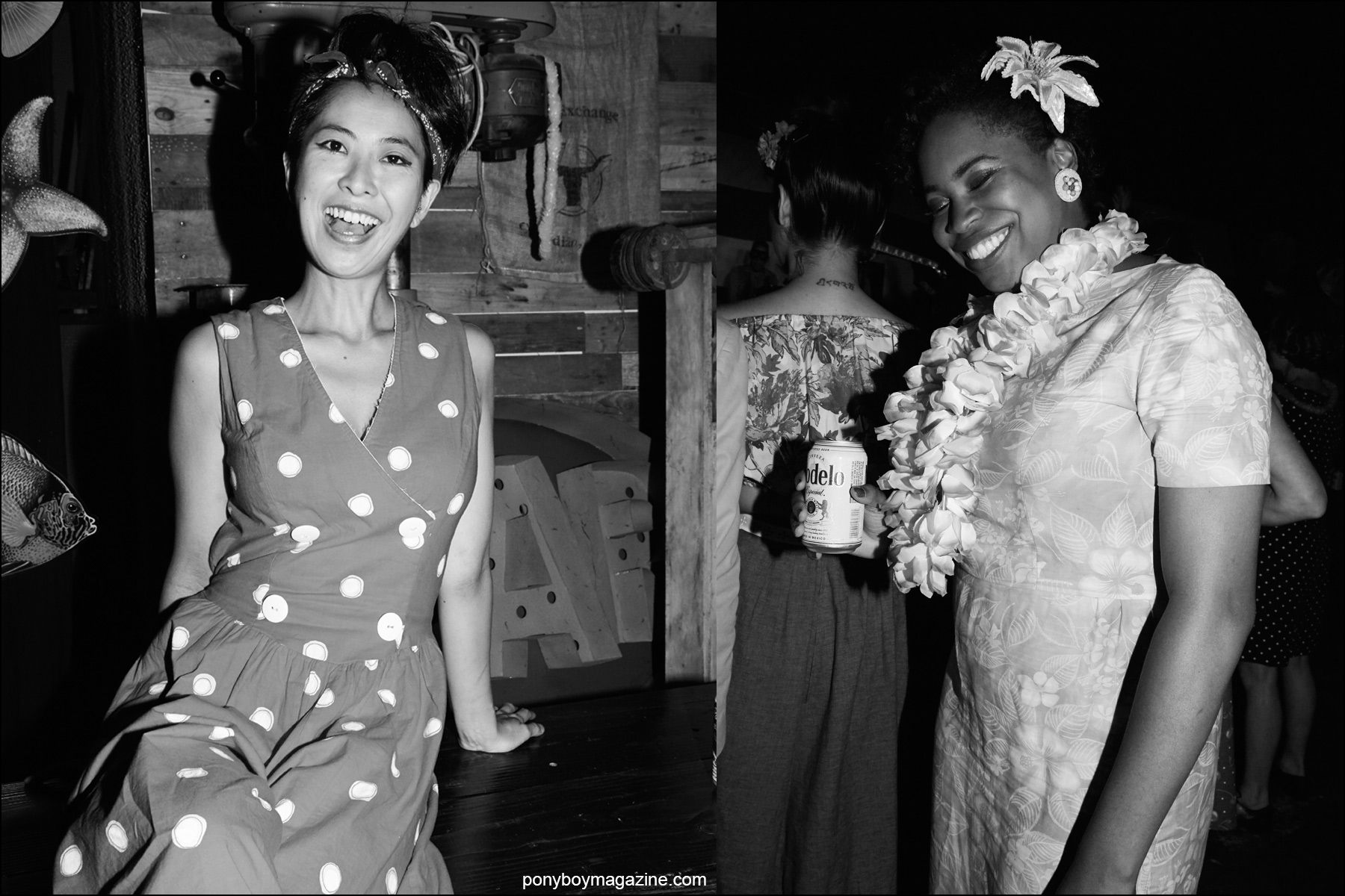 Rockabilly women in vintage dresses, snapped at Hula Rock Vol 2 in New York City. Photography by Alexander Thompson for Ponyboy magazine NY.