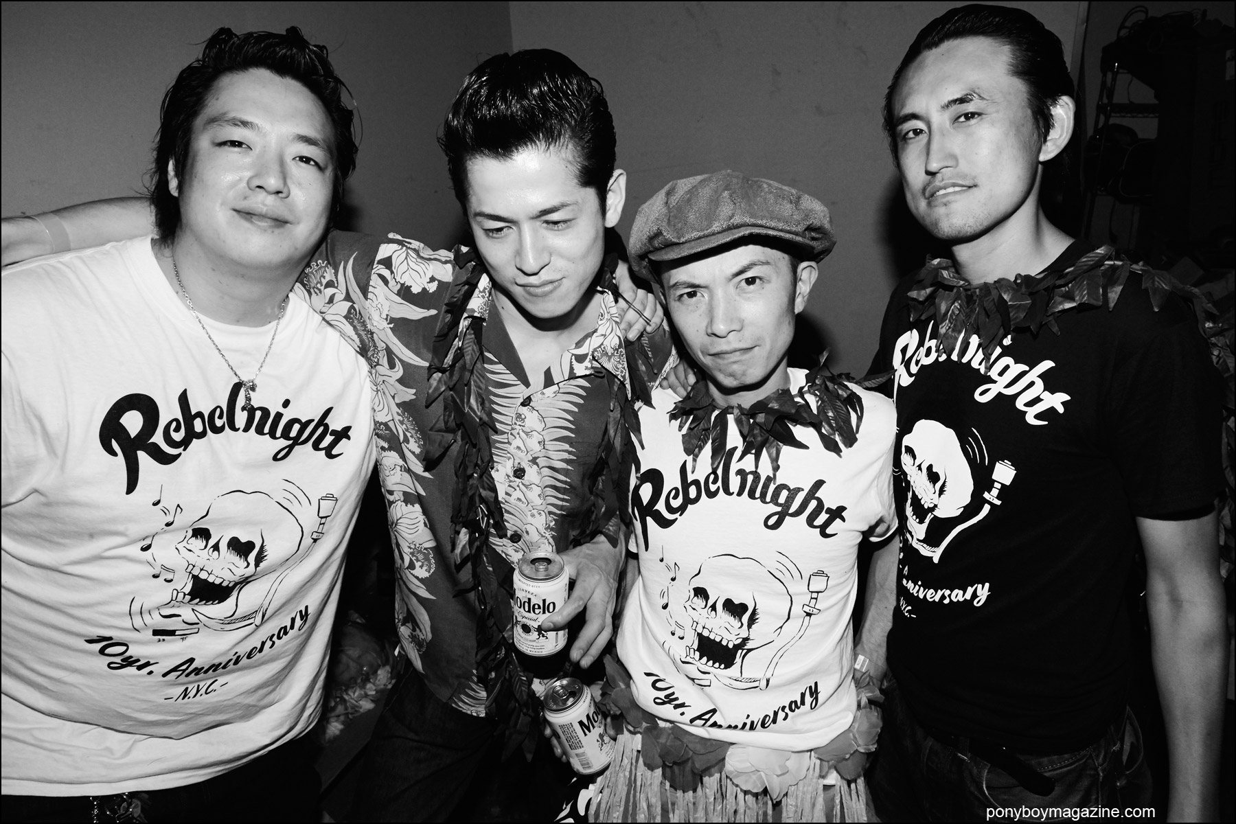 Rebel Night members photographed backstage at Hula Rock Vol 2 weekender. Photograph by Alexander Thompson for Ponyboy magazine NY.