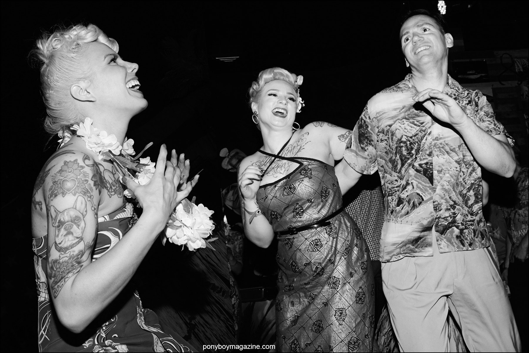 Rockabilly partygoers photographed on the Hula Rock Vol 2 dance floor in New York City. Photographs by Alexander Thompson for Ponyboy magazine NY.