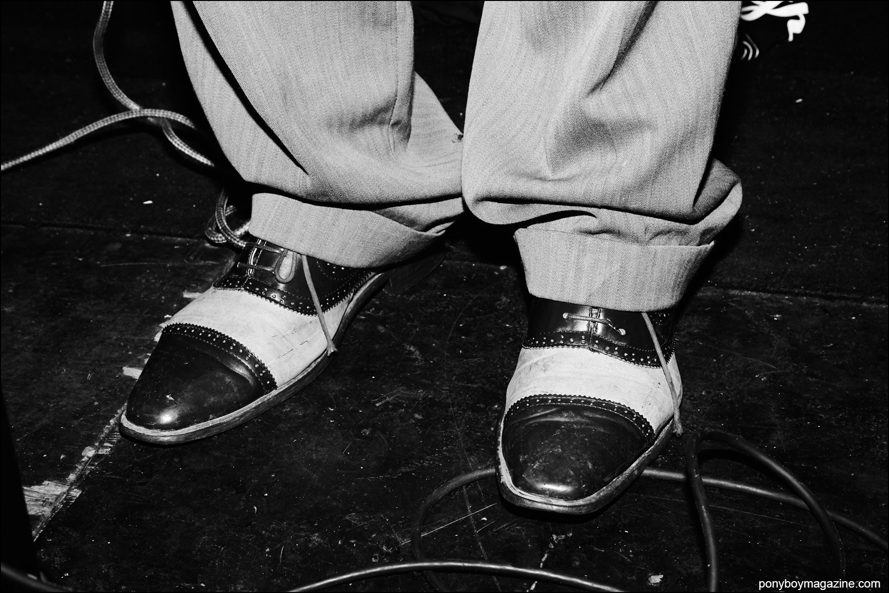 Vintage spectator shoes worn by rockabilly singer Almon Loos, at Hula Rock Vol 2 weekender. Photograph by Alexander Thompson for Ponyboy magazine NY.