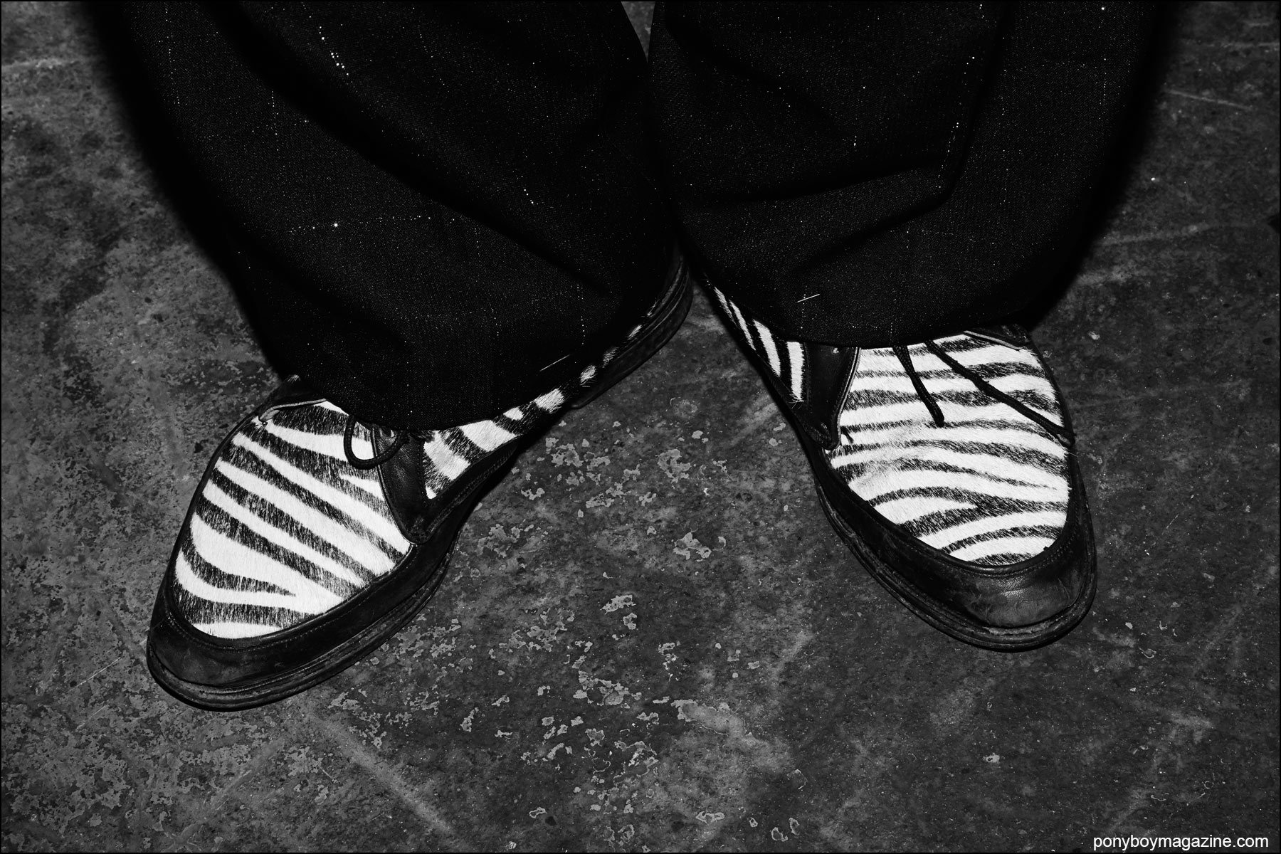 Wild zebra men's shoes on rockabilly performer Will Lizarraga. Photographed at Hula Rock Vol 2 in New York City by Alexander Thompson for Ponyboy magazine NY.