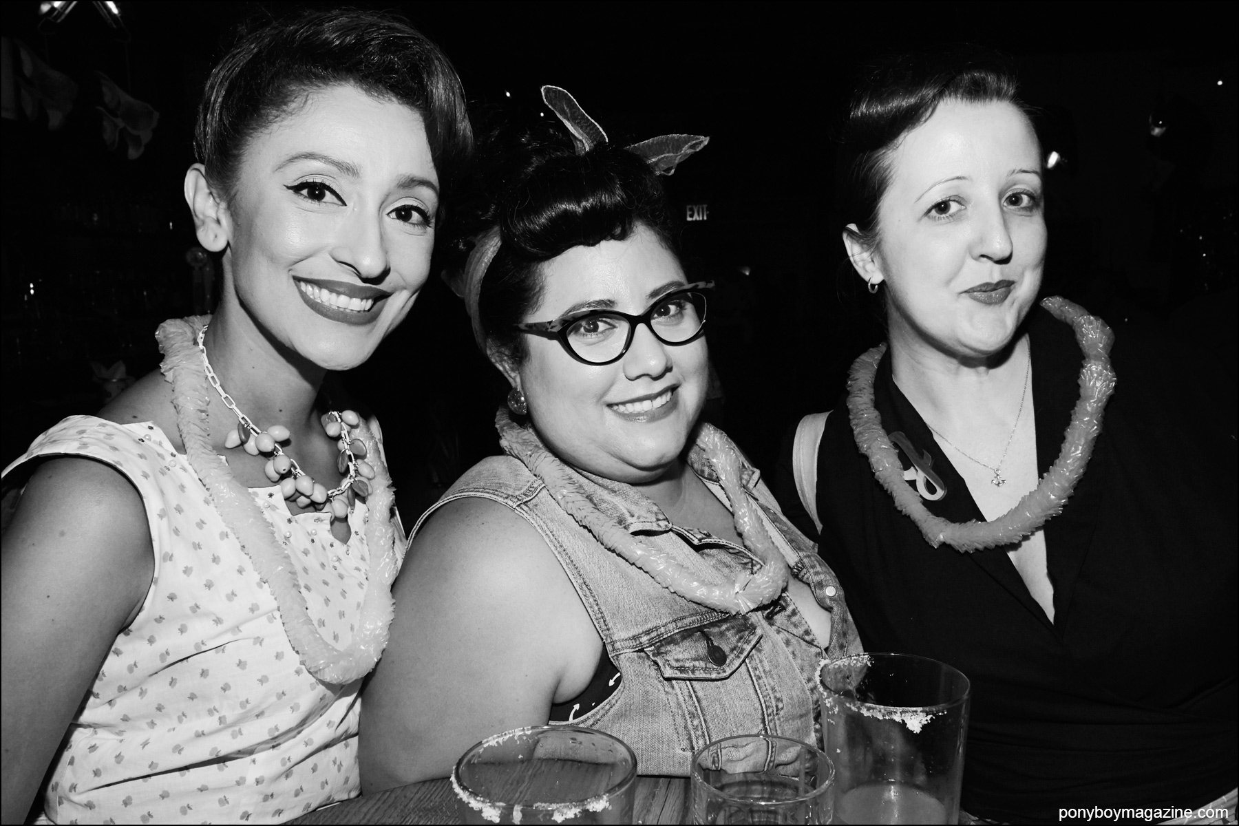 Trio of rockabilly ladies in vintage fashions, photographed at Hula Rock Vol 2 weekender in New York City. Photographed by Alexander Thompson for Ponyboy magazine NY.