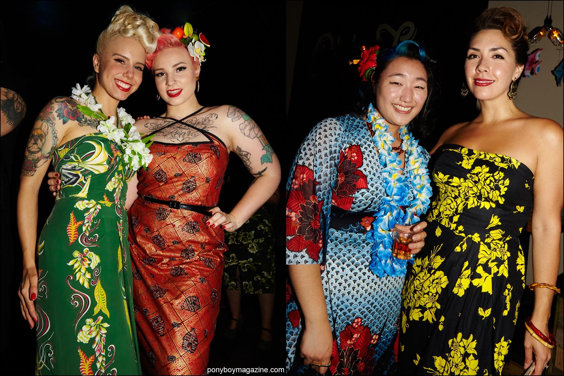 Beauties photographed in vintage Hawaiian fashions, at the Hula Rock Vol 2 Rebel Night weekender in New York City. Photographed for Ponyboy magazine by Alexander Thompson NY.