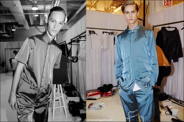 Models Adam Lee and Neels Visser photographed backstage in Rochambeau Spring/Summer 2016 menswear. Photography by Alexander Thompson for Ponyboy magazine.