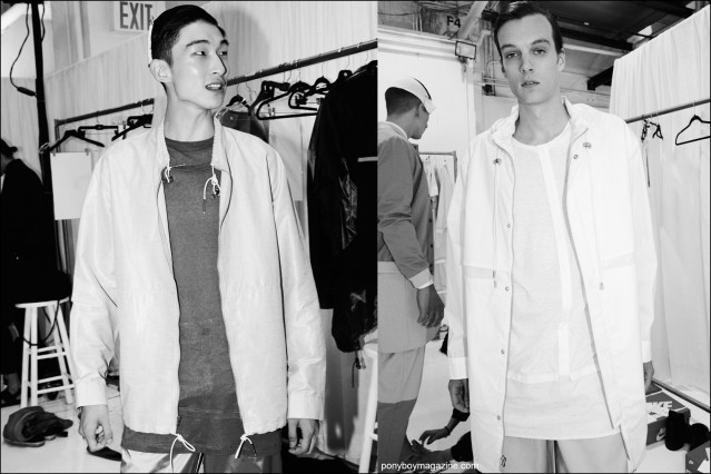 Male model Sang Woo Kim snapped backstage by Alexander Thompson for Ponyboy magazine at Rochambeau Spring/Summer 2016 menswear show.