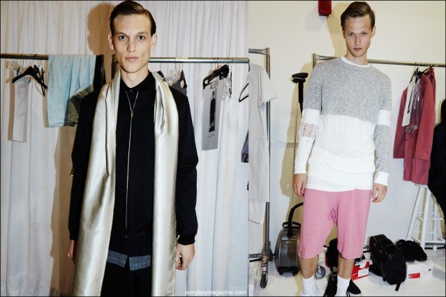 Models Alex Treutel and Sam Visser snapped backstage at Rochambeau menswear show, for Spring/Summer 2016. Photographs by Alexander Thompson for Ponyboy magazine.