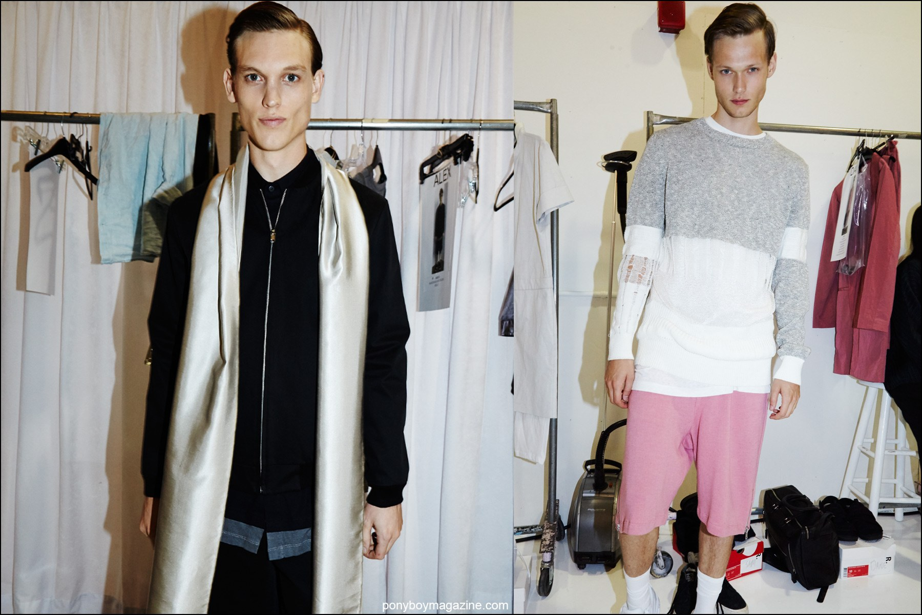 Models Alex Treutel and Sam Visser snapped backstage at Rochambeau menswear show, for Spring/Summer 2016. Photographs by Alexander Thompson for Ponyboy magazine NY.