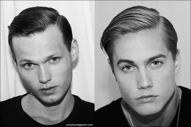 Models Sam Visser and Neels Visser, photographed backstage after grooming at the Rochambeau Spring/Summer 2016 collection. Photography by Alexander Thompson for Ponyboy magazine.