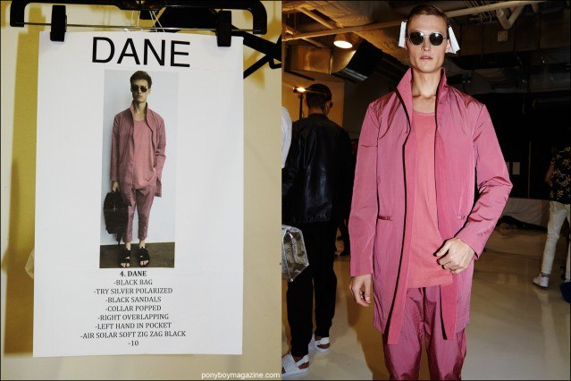 Model Dane Bell snapped backstage at Rochambeau Spring/Summer 2016 menswear show by Alexander Thompson for Ponyboy magazine.