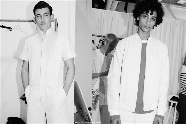 Models Dylan Hartigan and Tre Samuels snapped backstage at the Rochambeau Spring/Summer 2016 menswear show by Alexander Thompson for Ponyboy magazine.