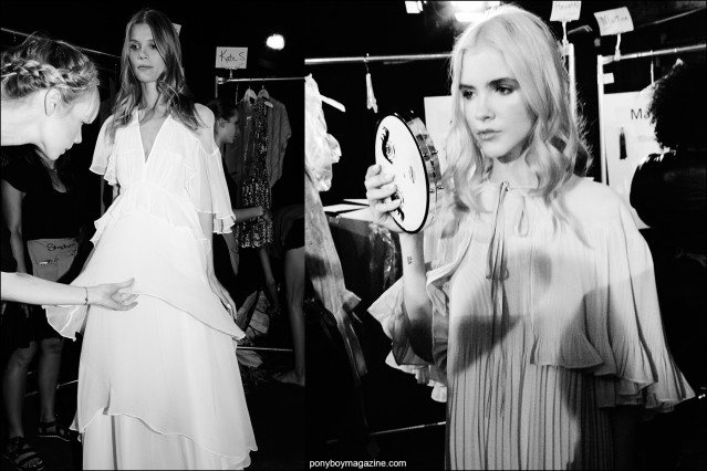 Models snapped backstage in chiffon dresses, Erin Fetherston Spring/Summer 2016. Photography for Ponyboy magazine by Alexander Thompson.