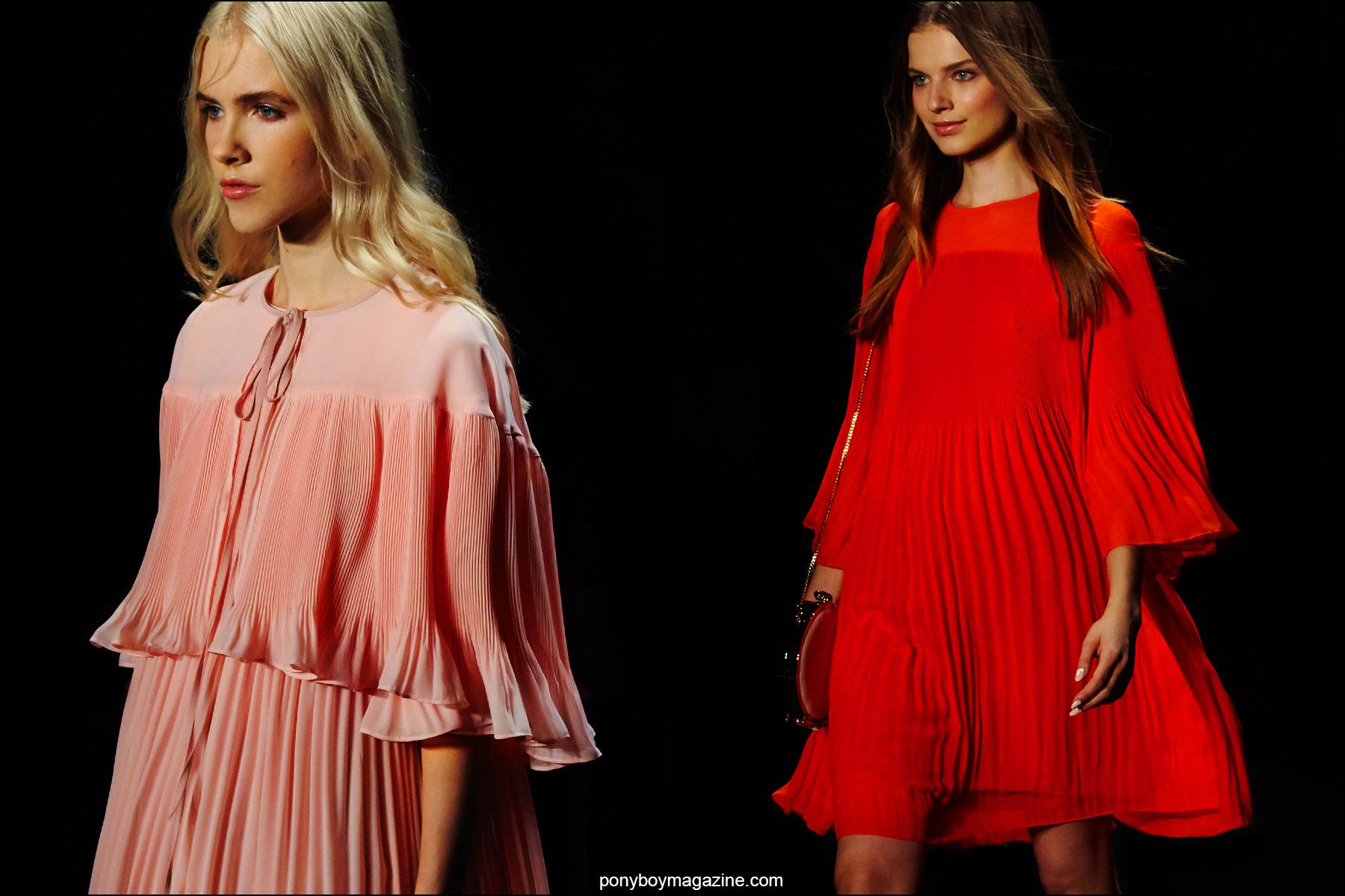 Models in pleated chiffon dresses on the runway at Erin Fetherston S/S16. Photographs by Alexander Thompson for Ponyboy magazine NY.