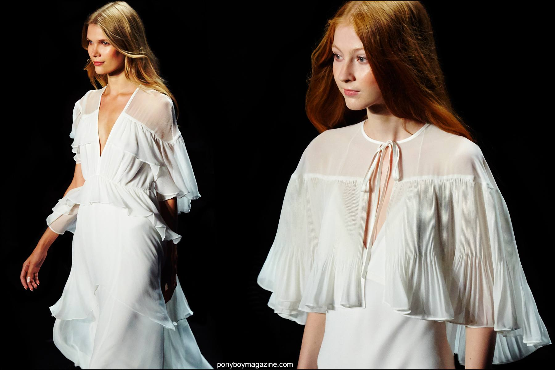 White chiffon dresses on the Erin Fetherston Spring/Summer 2016 runway. Photographs by Alexander Thompson for Ponyboy magazine NY.