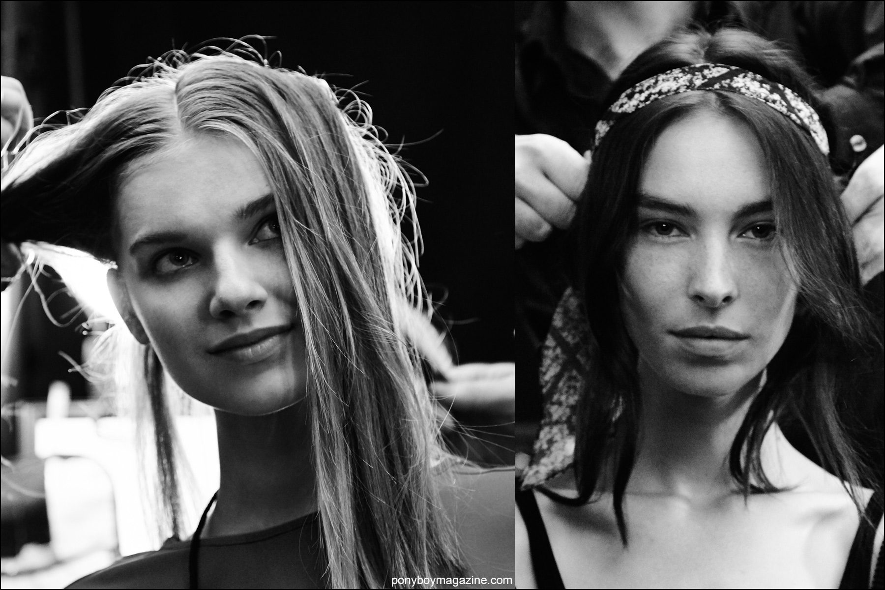 Models in hair, backstage at the Erin Fetherston S/S 2016 womenswear show. Photography by Alexander Thompson for Ponyboy magazine NY.