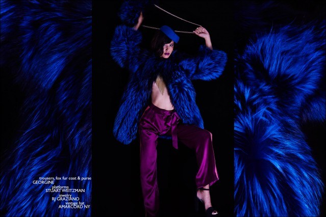 Janiece Dilone photographed in a fox fur from the Georgine F/W15 collection. Photography by Alexander Thompson for Ponyboy magazine.