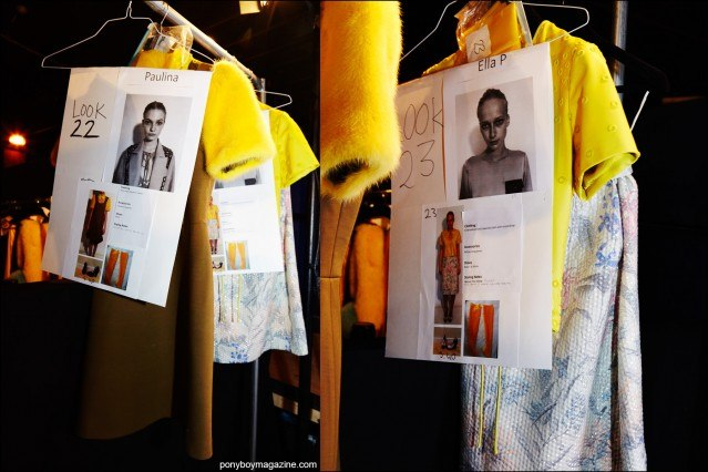 Detail shots of models dressing cards and clothing, backstage at the Georgine S/S16 womenswear collection. Photographs by Alexander Thompson for Ponyboy magazine.