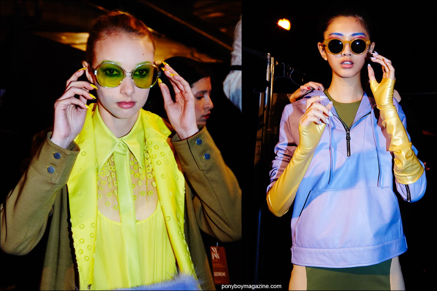 Models adjust their sunglasses, backstage at Georgine Spring/Summer 2016 womenswear collection. Photography by Alexander Thompson for Ponyboy magazine NY.
