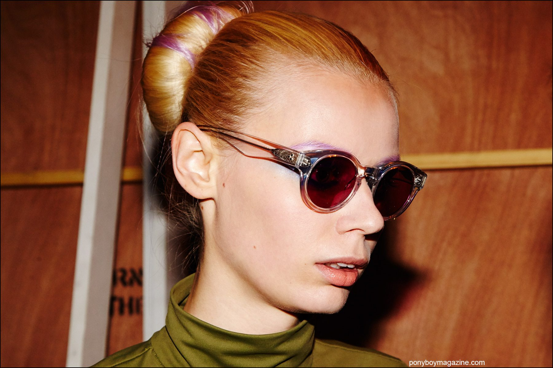 Portrait of a model in eyewear, backstage at Georgine Spring/Summer 2016 womenswear collection. Photograph by Alexander Thompson for Ponyboy magazine NY.