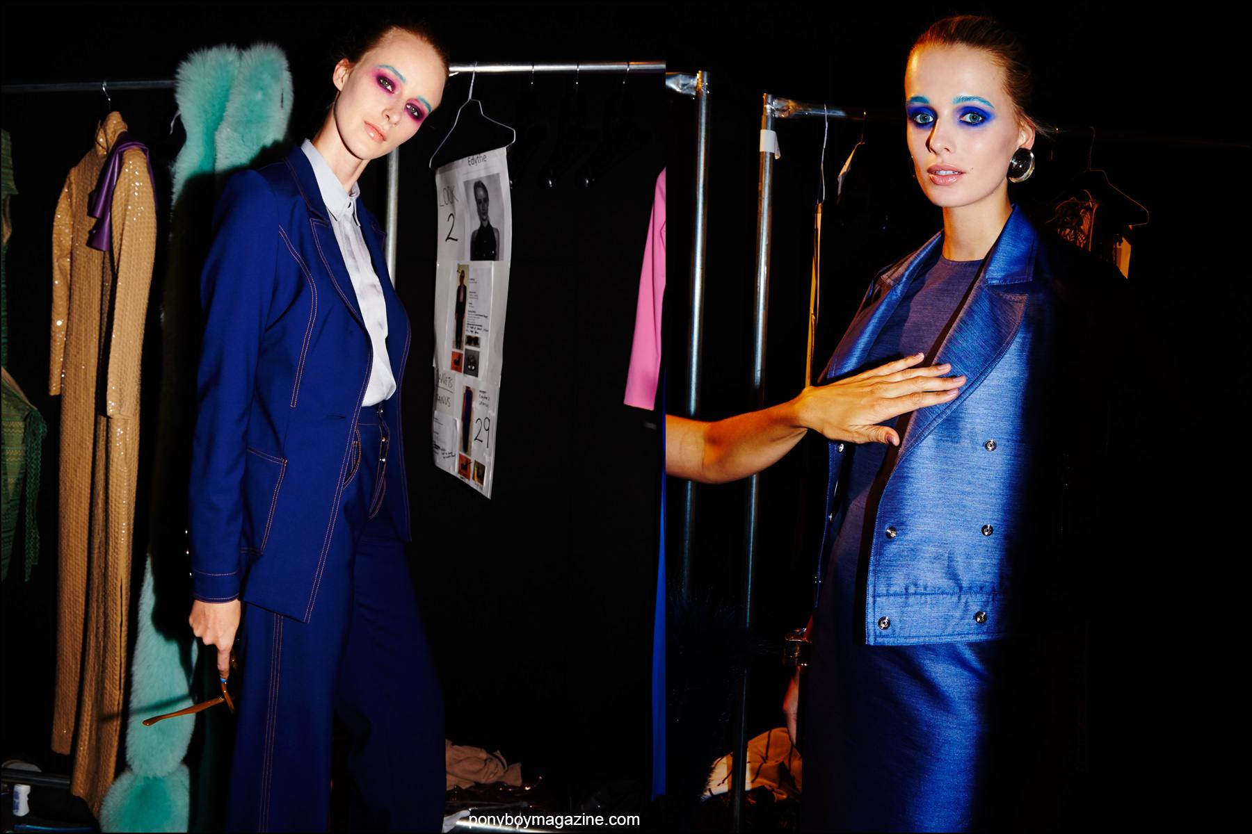 Photographs of models in blue apparel, backstage at the Georgine Spring/Summer 2016 womenswear collection. Photography by Alexander Thompson for Ponyboy magazine NY.