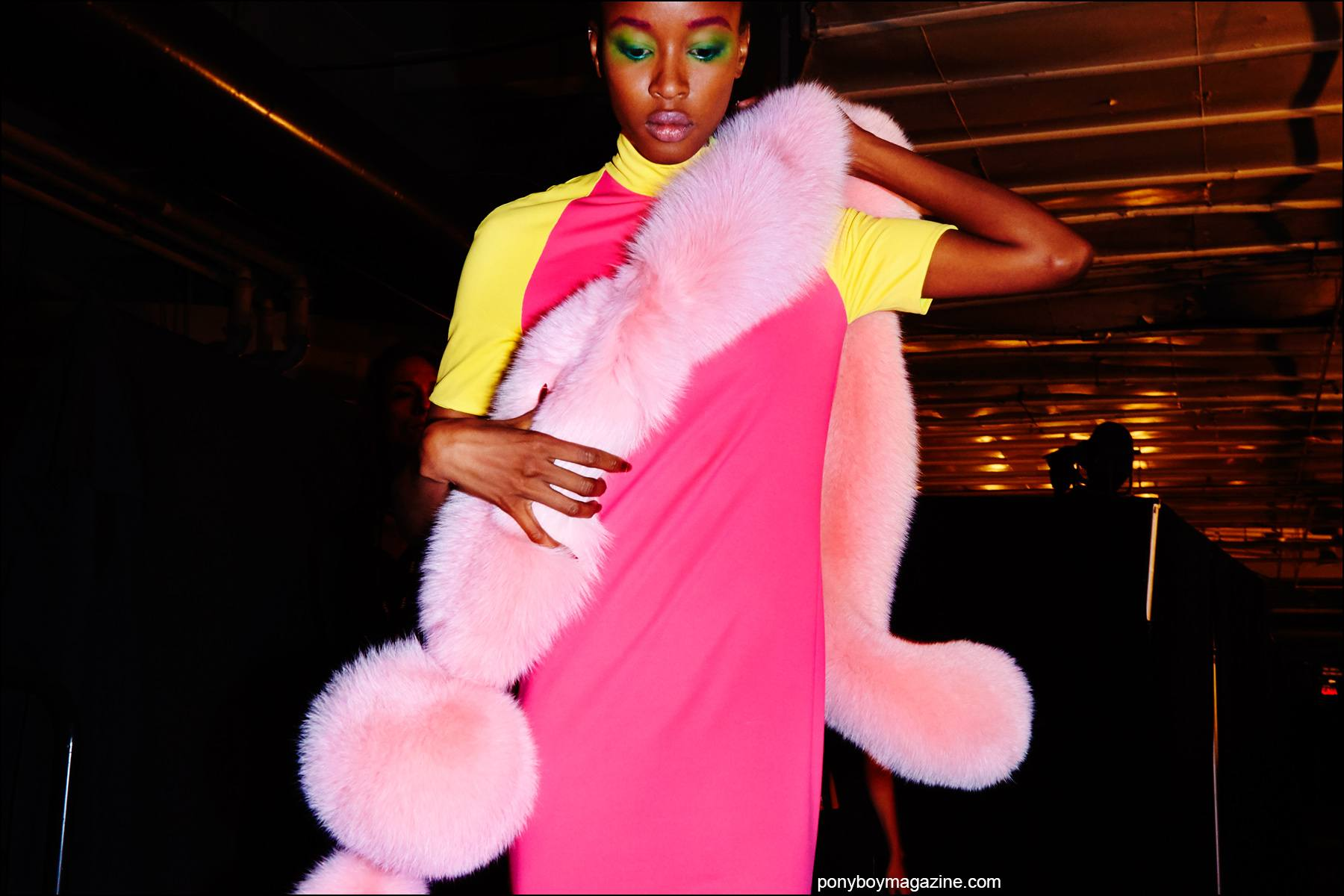 A pink color blocked spandex evening gown with matching pink stole, photographed backstage at Georgine Spring/Summer 2016 womenswear collection. Photographed by Alexander Thompson for Ponyboy magazine NY.