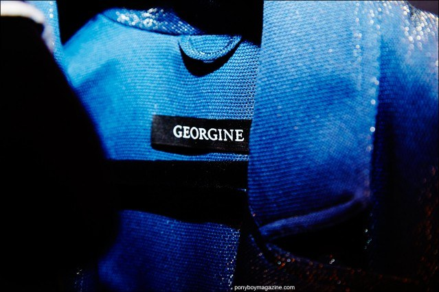 Detail shot of a label on a Georgine jacket, photographed backstage at the Spring/Summer 2016 collection by Alexander Thompson for Ponyboy magazine.