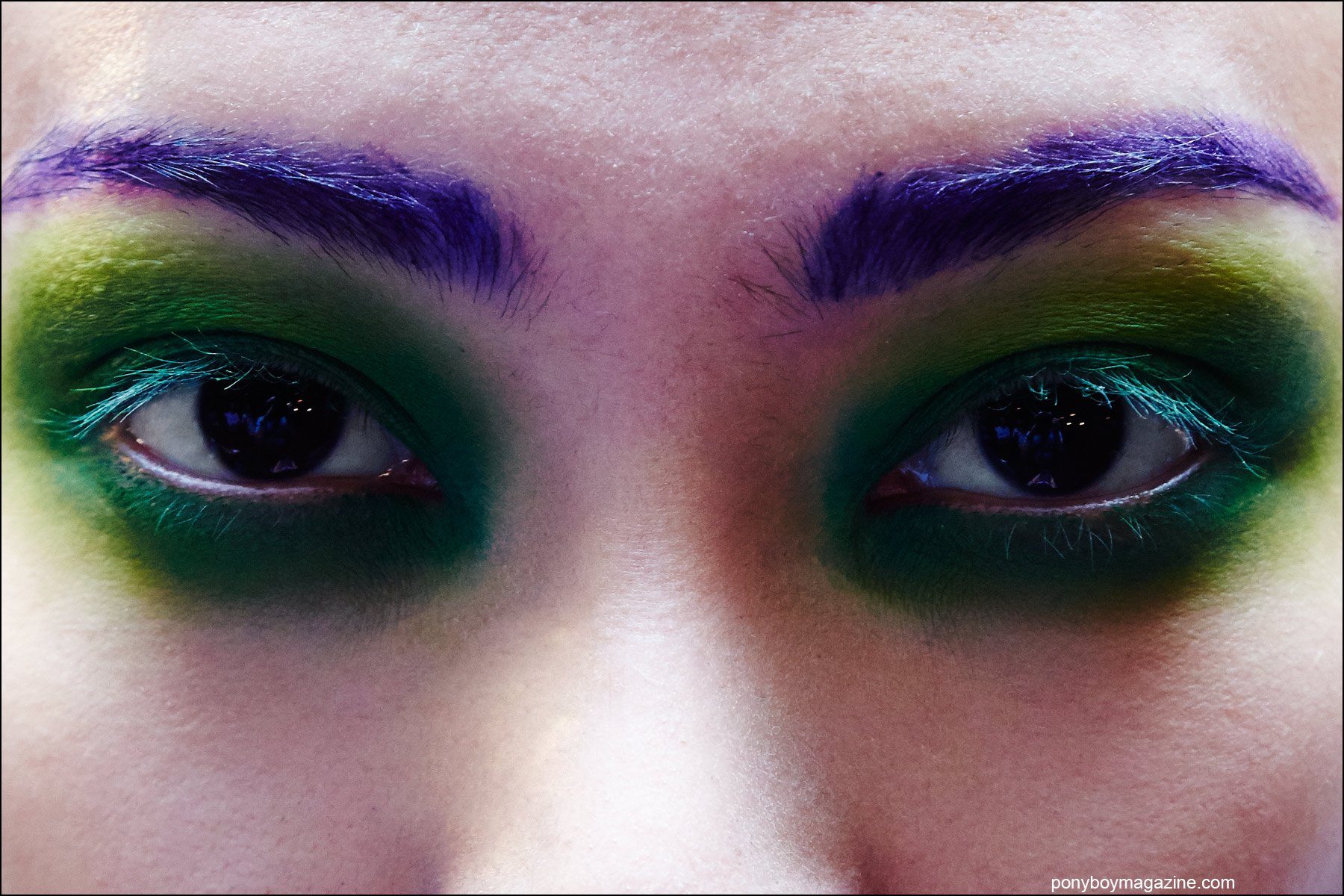 Close-up shot of makeup by MAC Cosmetics, backstage at the Georgine Spring/Summer 2016 womenswear collection. Photography by Alexander Thompson for Ponyboy magazine NY.