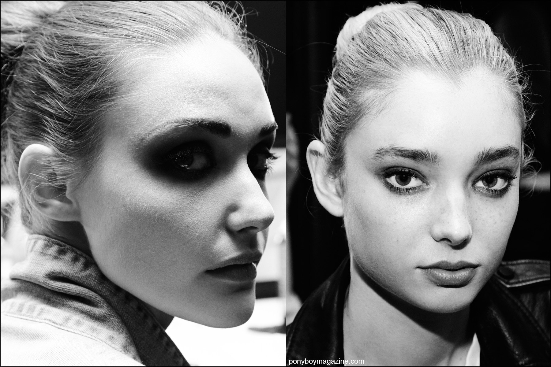 Black and white photographs of models backstage in hair and makeup. Photographed at the Georgine Spring/Summer 2106 collection by Alexander Thompson for Ponyboy magazine NY.
