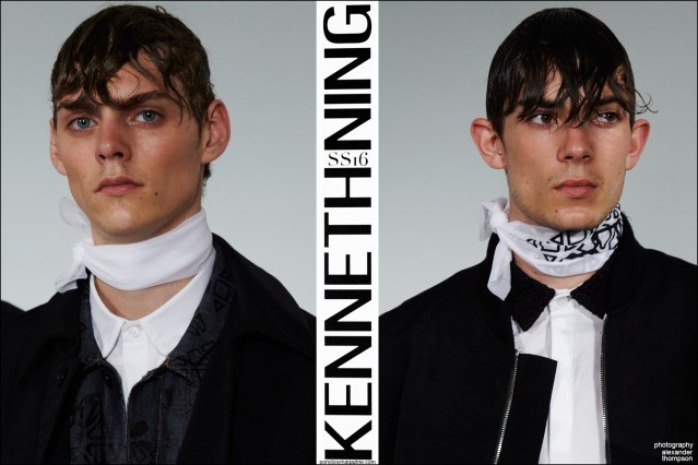 Male model Mats Van Snippenberg photographed at Kenneth Ning Spring/Summer 2016 menswear presentation at Industria Studios New York. Photographed by Alexander Thompson for Ponyboy magazine.